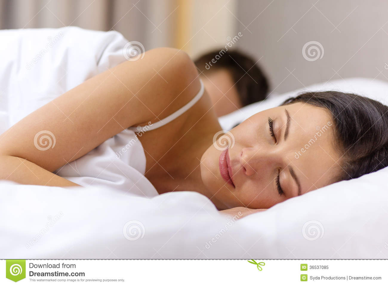 Happy couple sleeping in bed royalty free stock photo for Sleeping bed