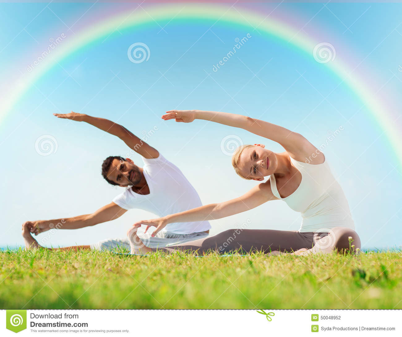 Happy Couple Stretching And Doing Yoga Exercises Stock