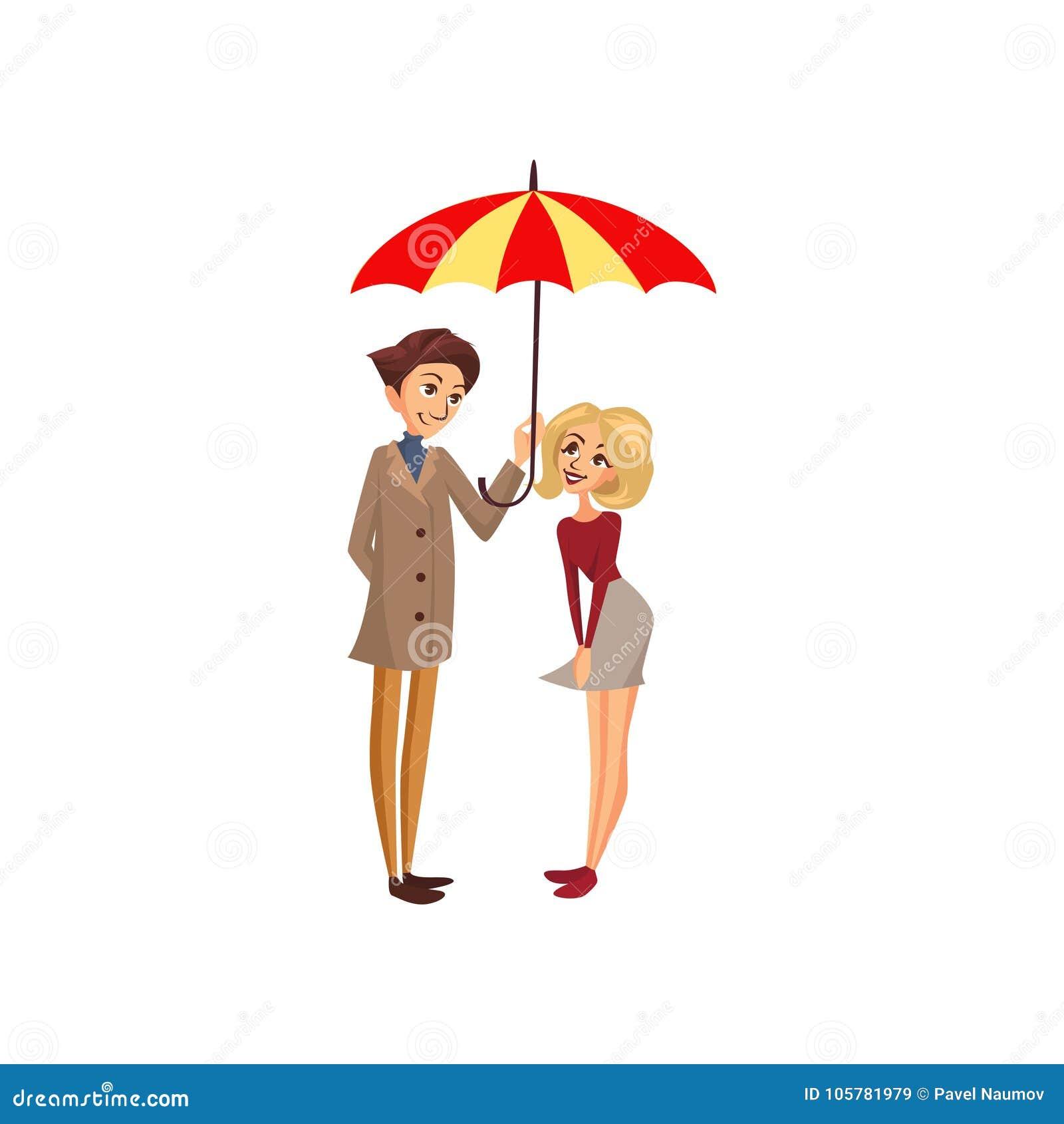 Happy couple under one big striped umbrella, rainy weather concept cartoon vector Illustration