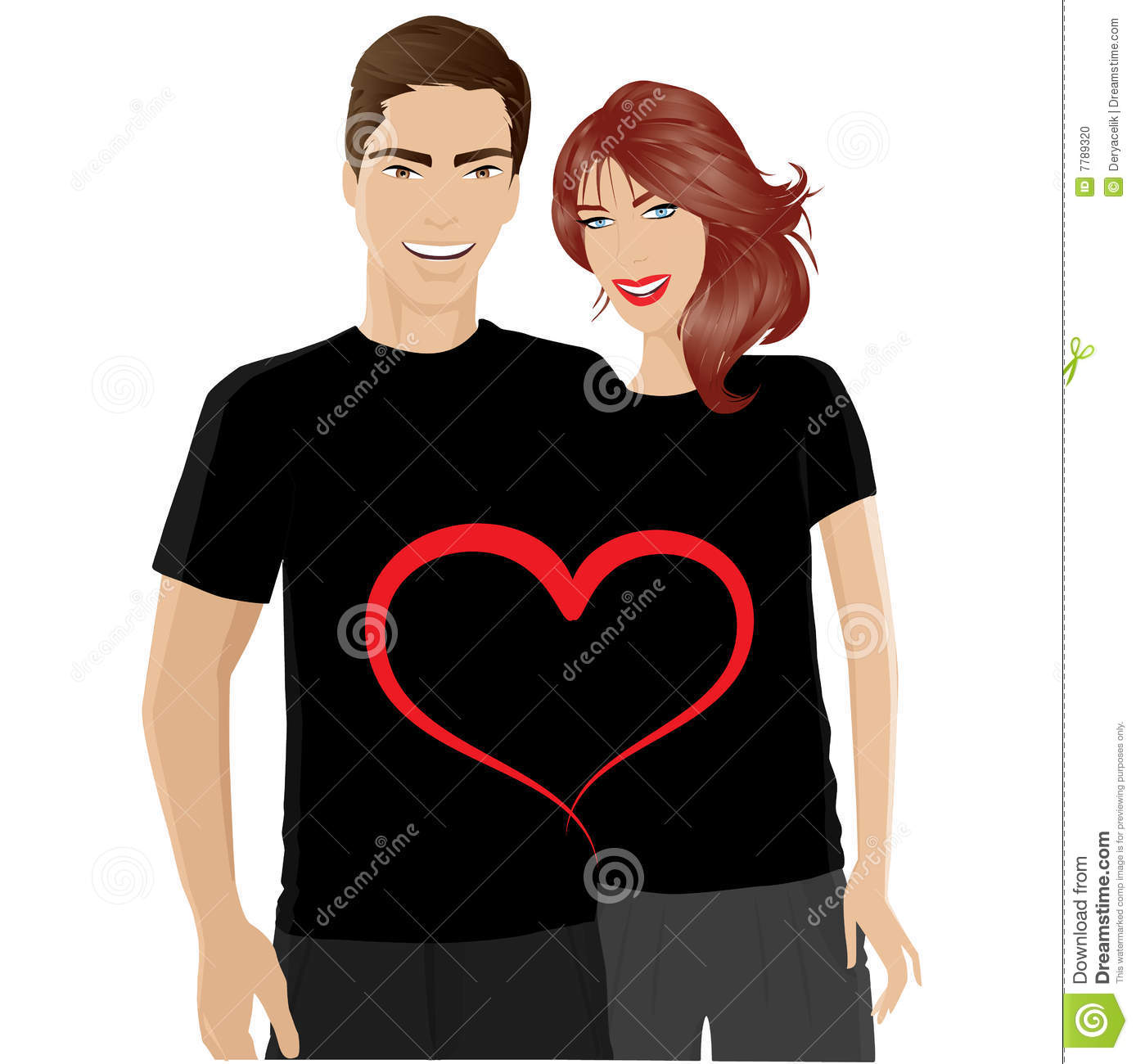 Happy Couple In Valentines Day T Shirt Stock Vector Illustration