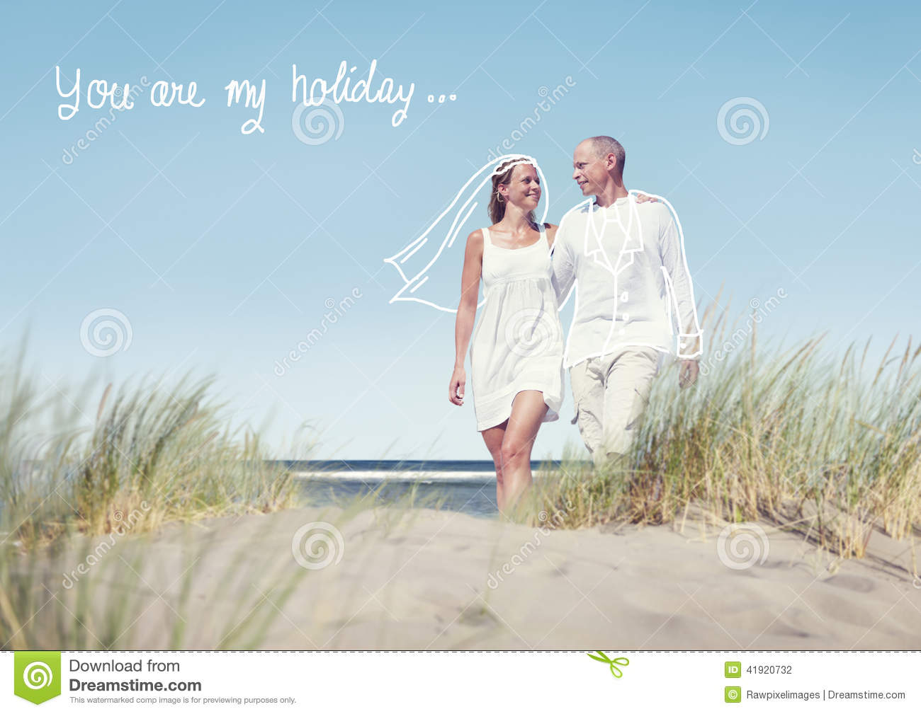 Happy Couple Walking On Beach With Quote Stock Photo Image Of