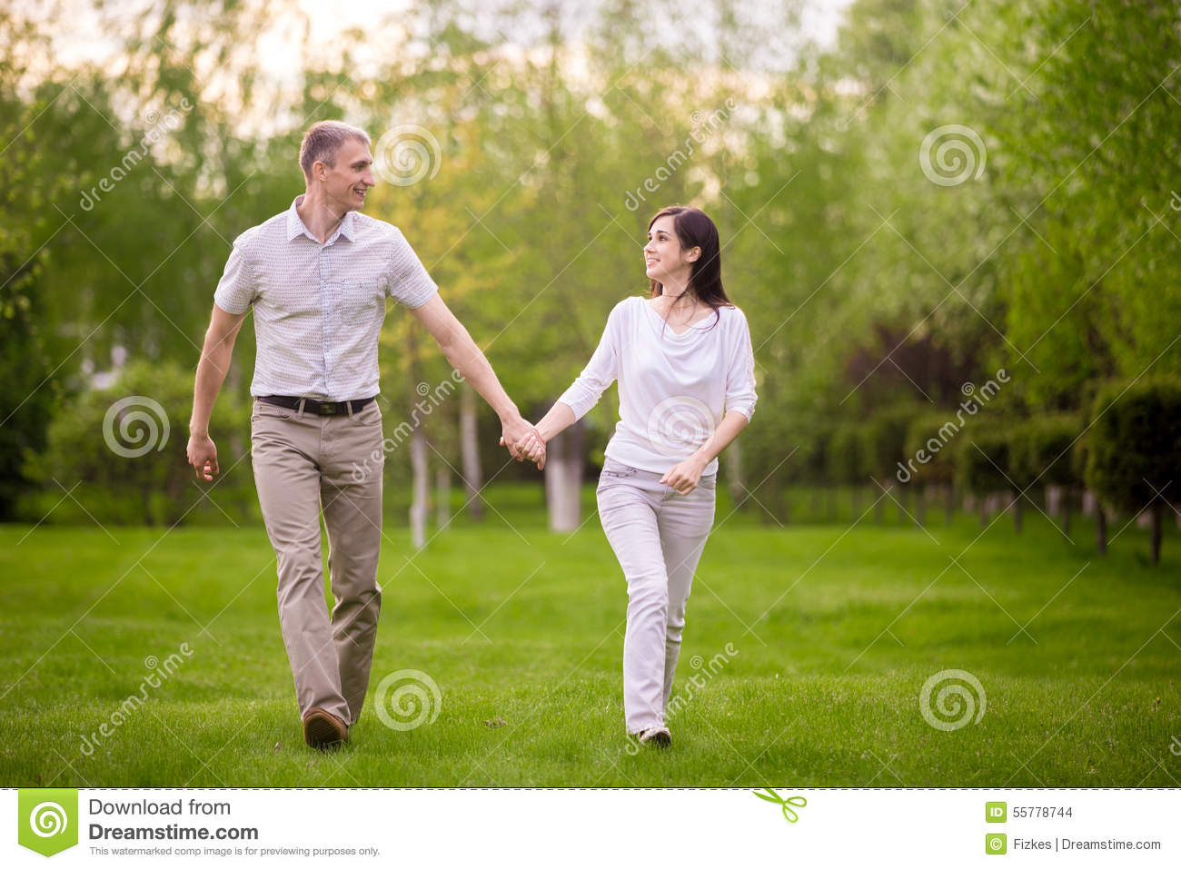 happy couple walking in park stock photo image of lover