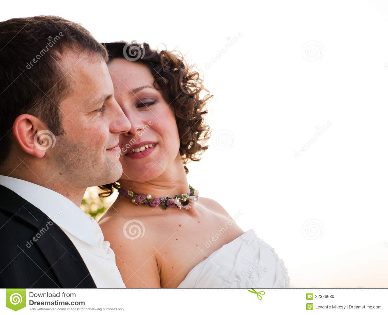 A happy couple after wedding