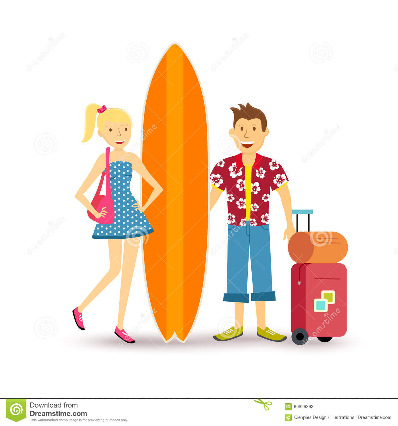 Couple Enjoying Their Summer Holidays Stock Photo: Happy Couple Young Surf Holiday Summer Travel Stock Vector