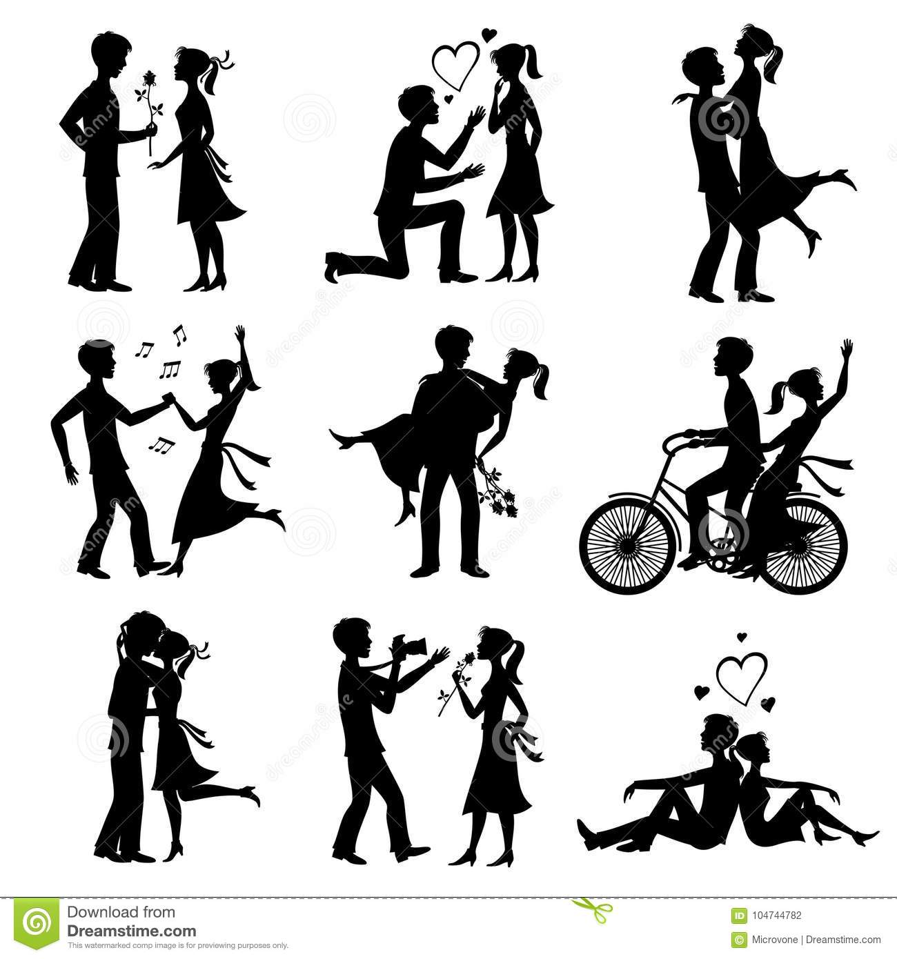 Happy Couples In Love Just Married Bride And Groom Vector