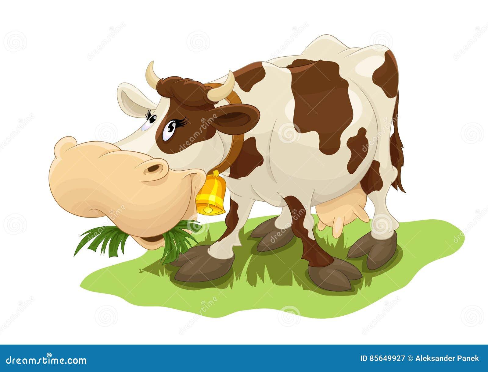 Imagenes Vacas Animadas: Cow Eating Grass Stock Illustrations