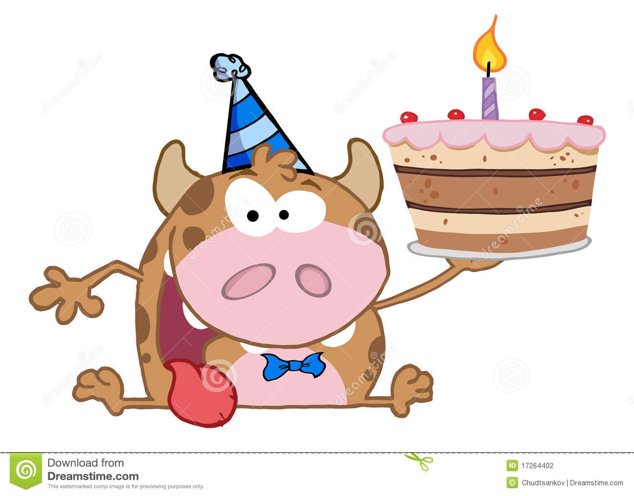 Happy Cow Holding A Birthday Cake Stock Vector