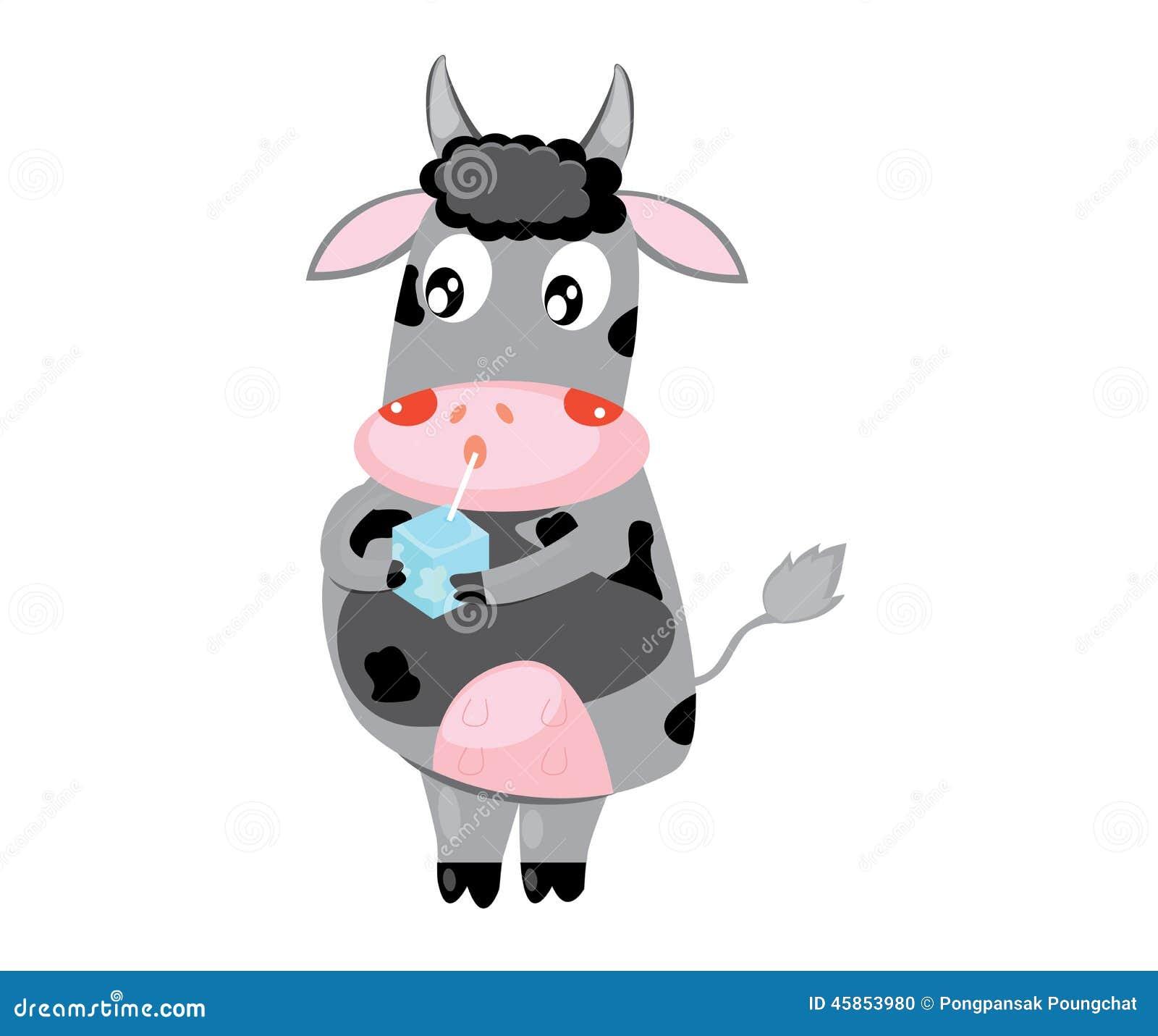 Cow Milk Animation Happy Cow With Milk Bo...