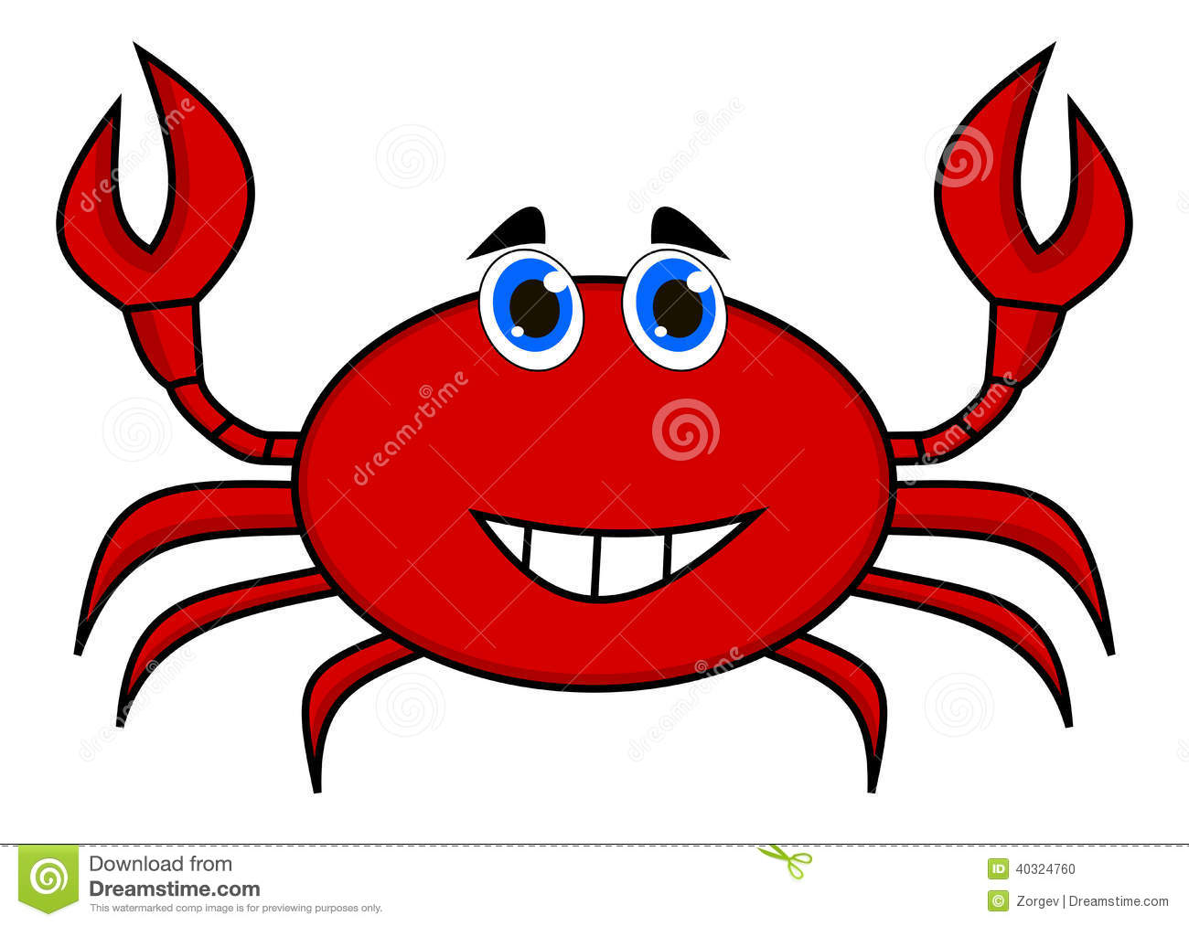A Happy Crab Red Stock Vector. Illustration Of Funny