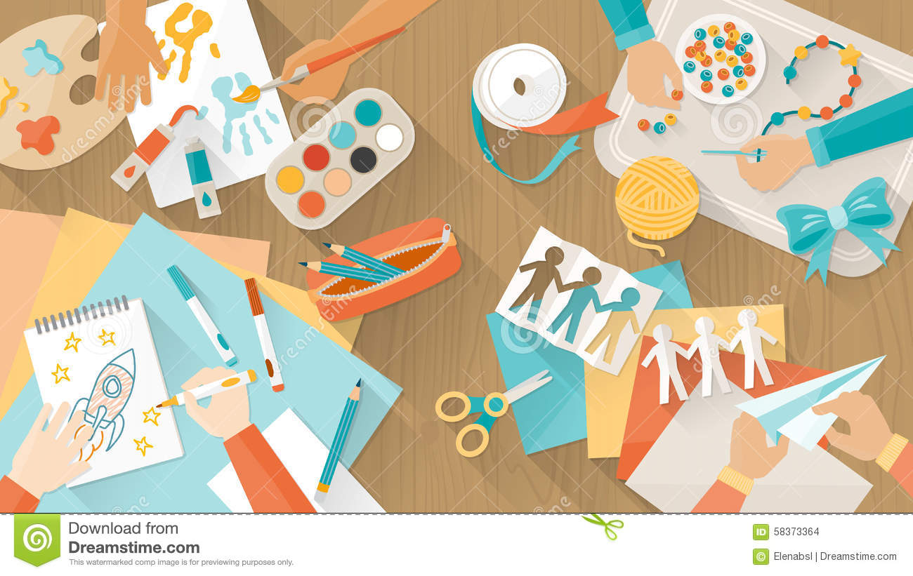 Happy Creative Kids Playing Stock Vector Image 58373364
