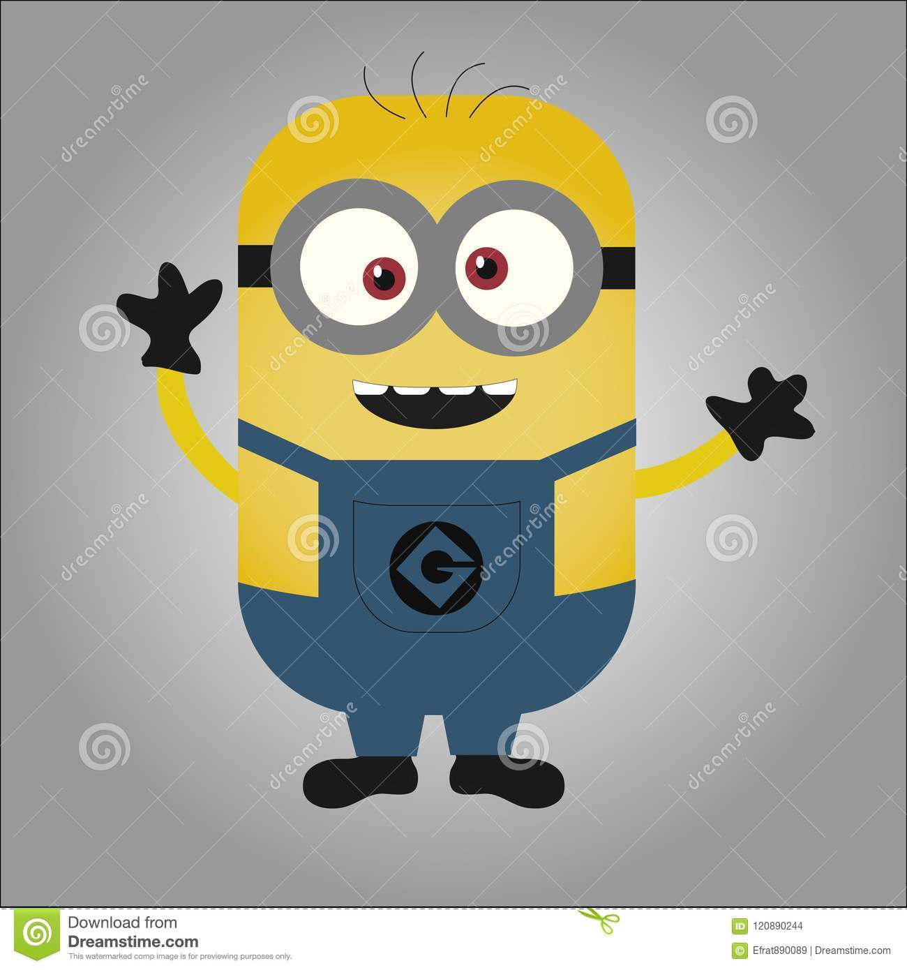 Happy Cross Eyed Minion Waving Hands Black Gloves Despicable Me