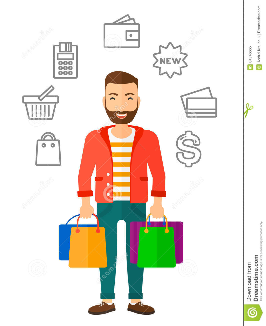 Happy Customer With Bags Stock Vector - Image: 64846665