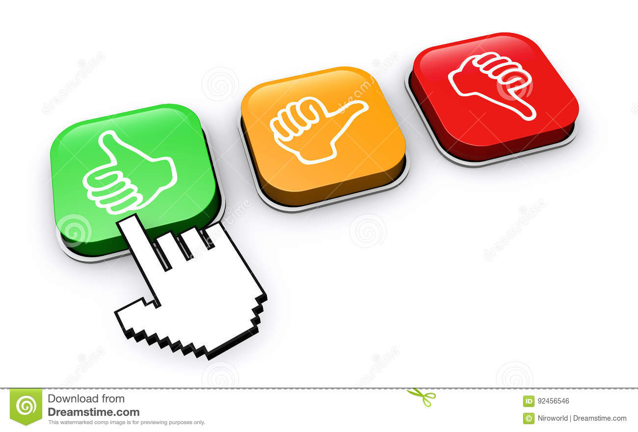 Happy Customer Click Feedback Button Stock Illustration