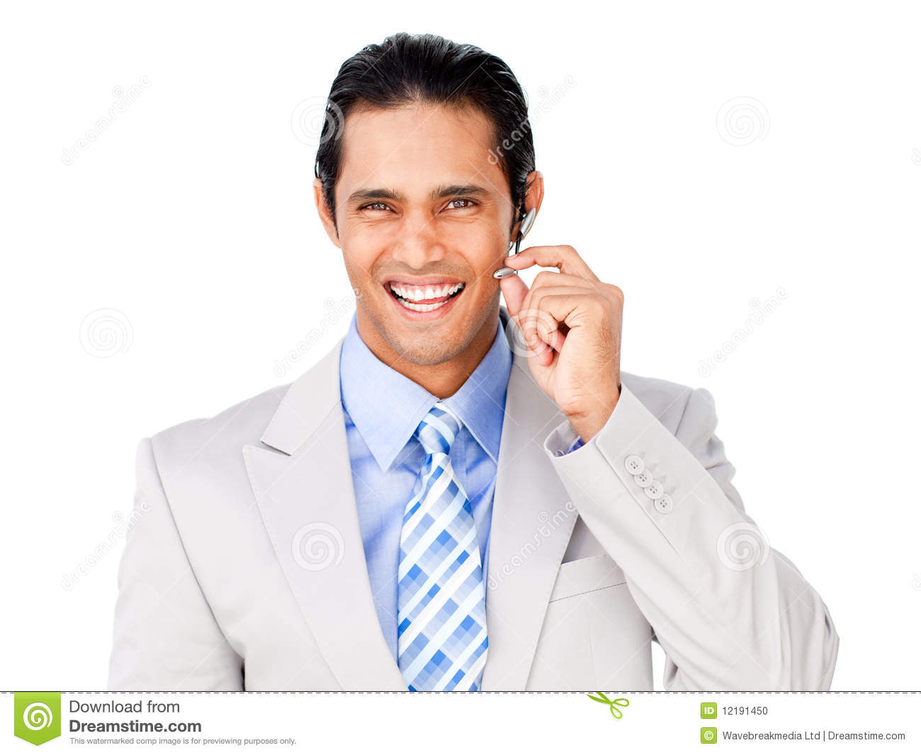 Happy Customer Service Agent With Headset On Stock Photo