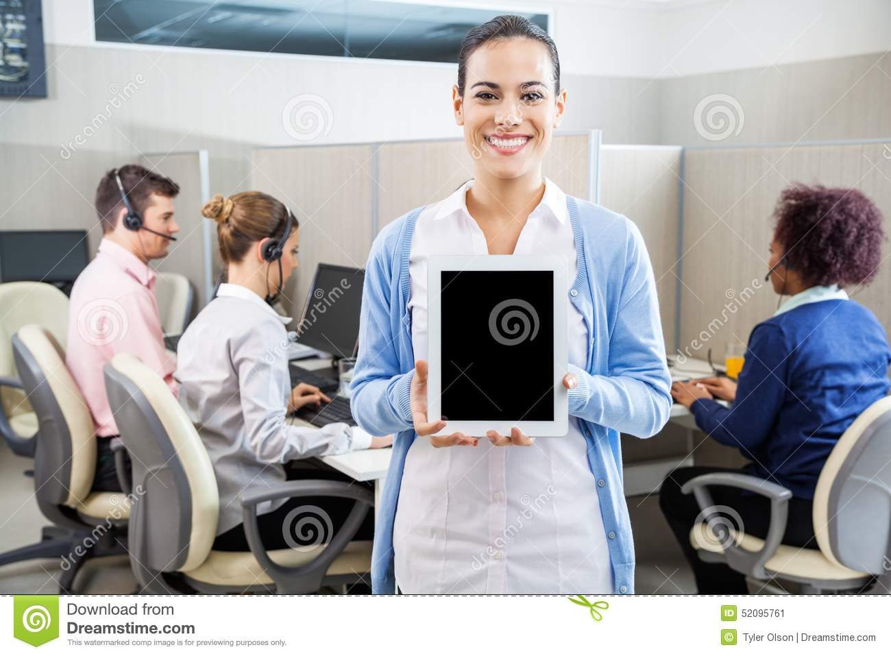 happy customer service agent showing tablet stock photo image happy customer service agent showing tablet