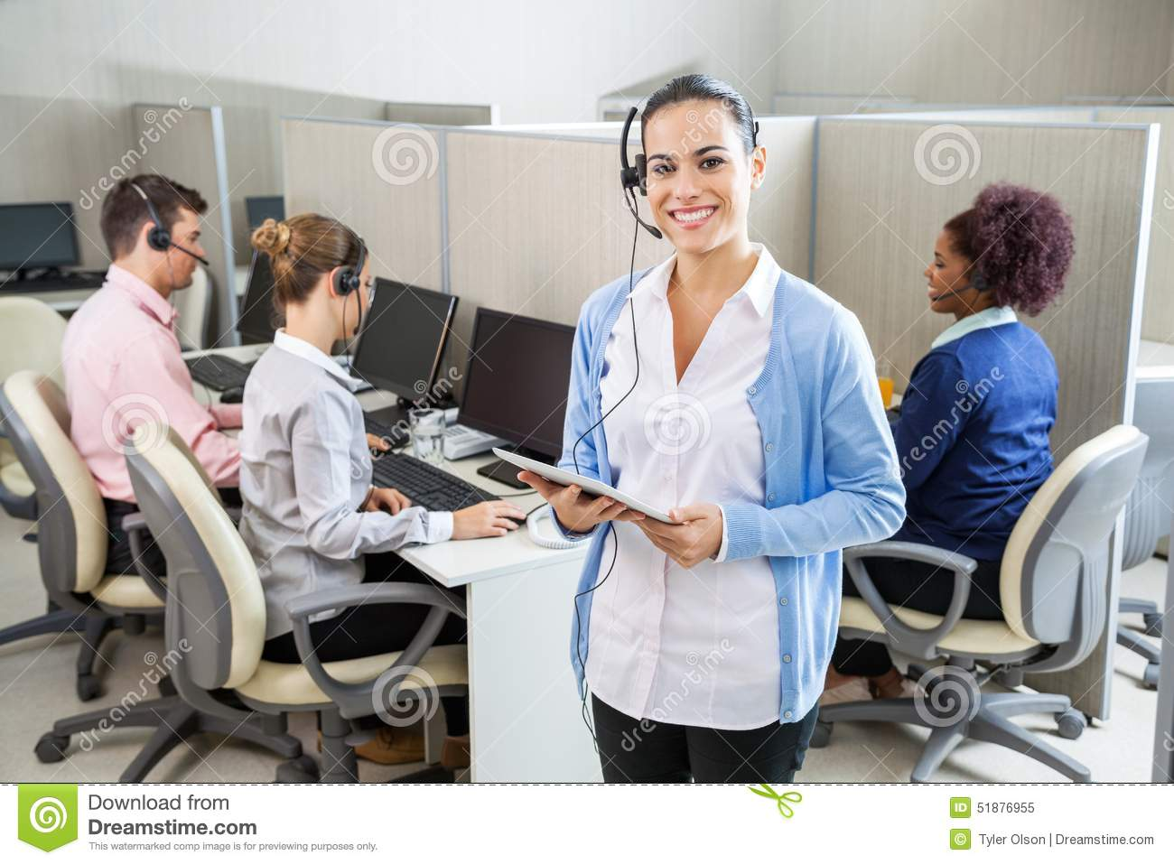 customer service agent holding tablet computer stock photo image happy customer service representative holding royalty stock photo