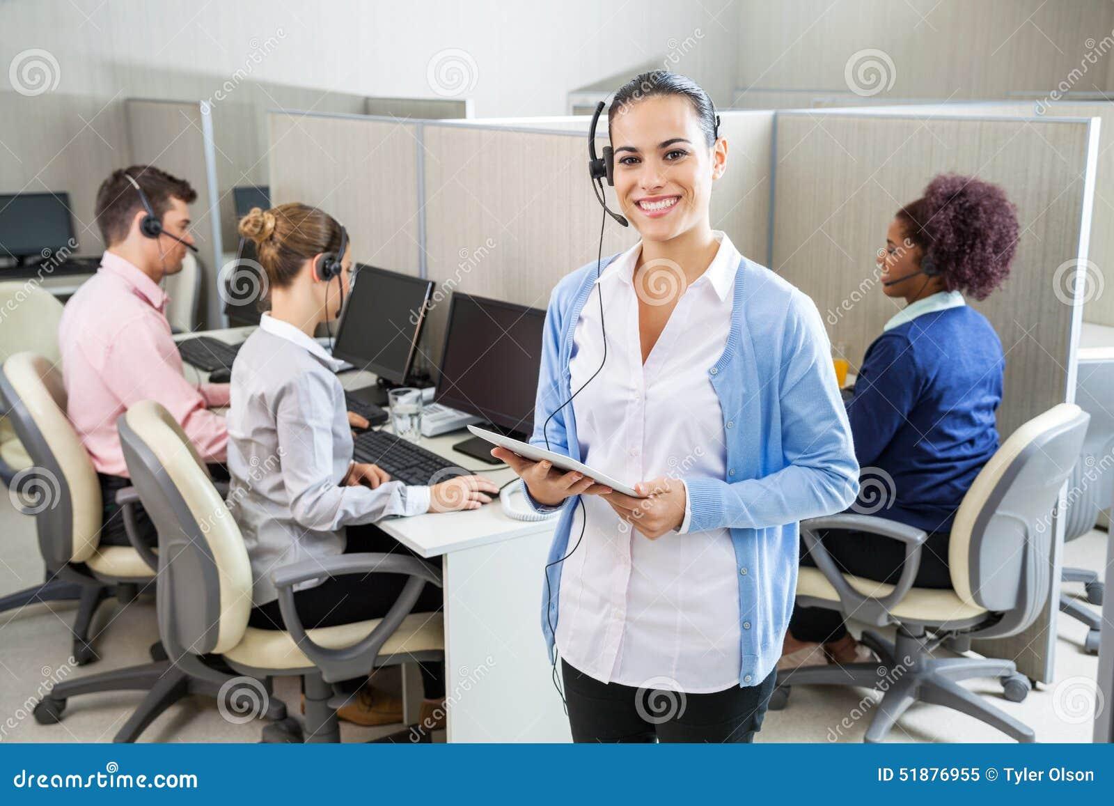 Happy Customer Service Representative Holding Stock Photo