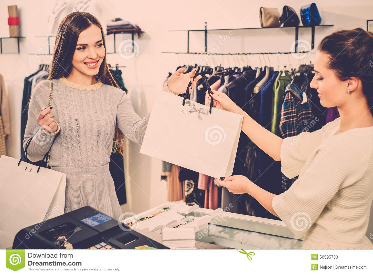 Happy Customer With Shopping Bag Stock Photo - Image: 50596318