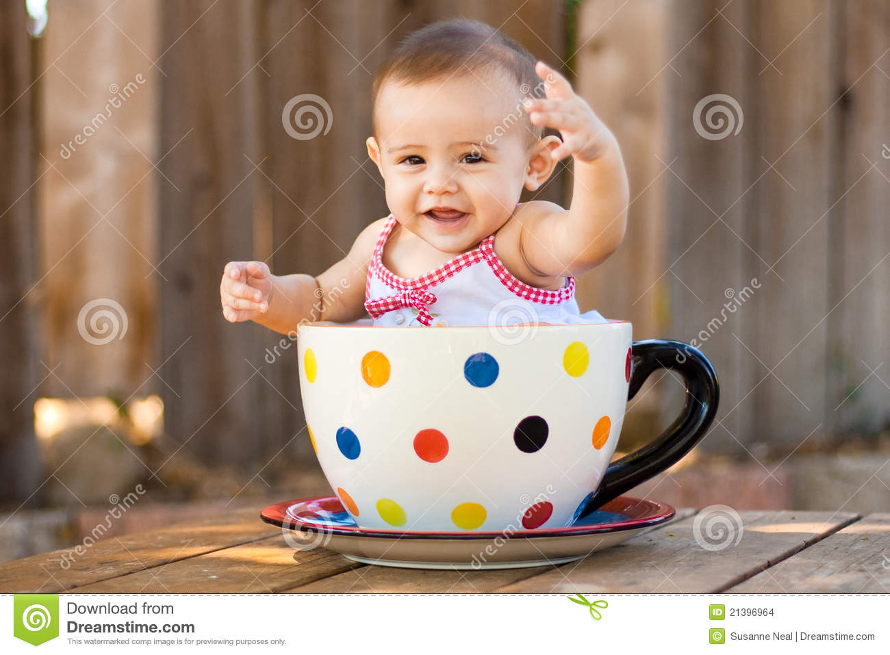 Happy And Cute Baby Girl In Giant Teacup Stock Images ...