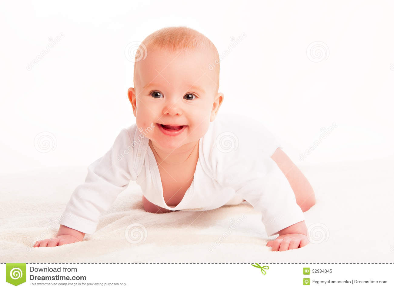 Happy Cute Baby On White Background Stock Image