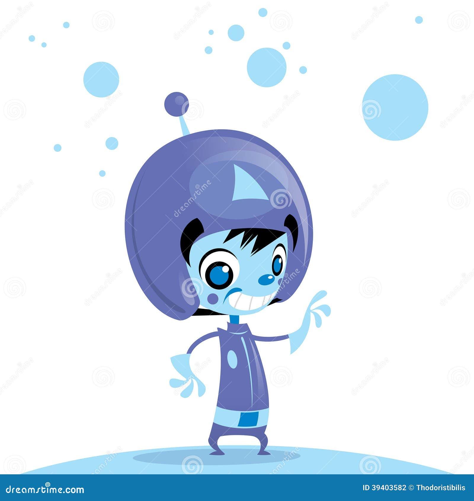happy cute cartoon alien spaceman in space stock vector image
