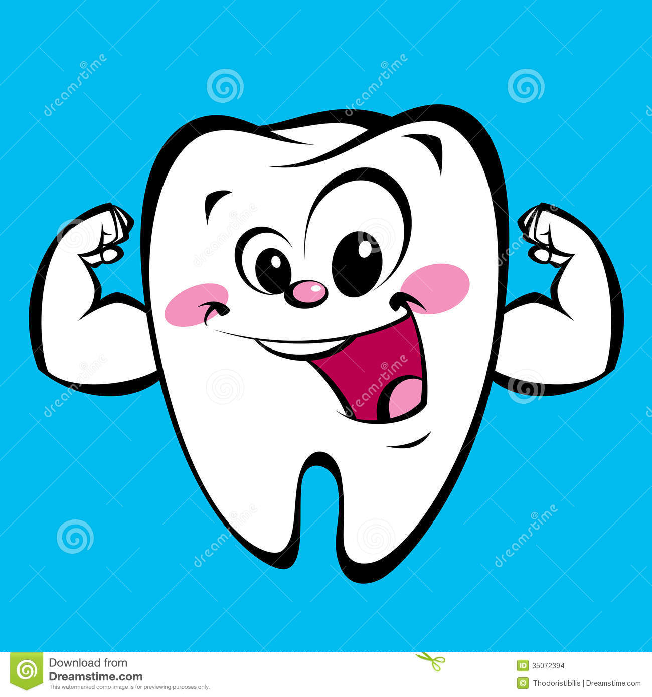 happy cute cartoon strong tooth character making a power