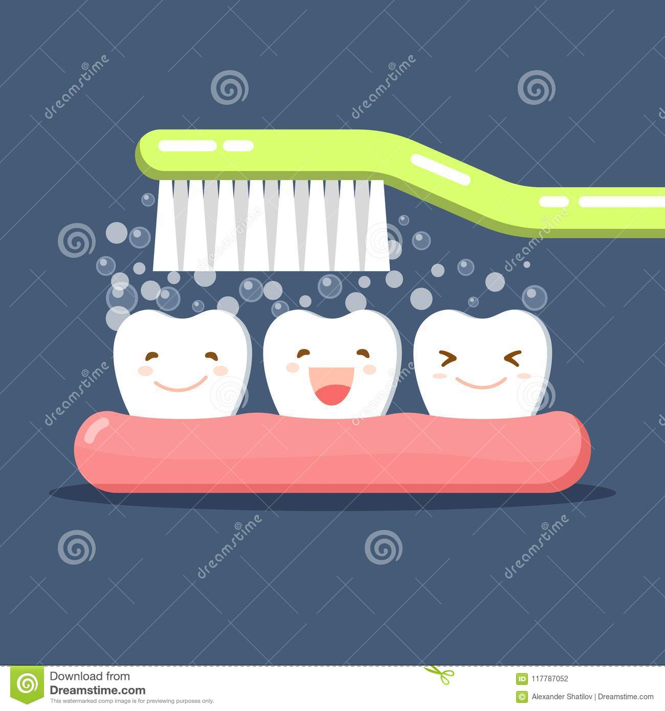 Happy Cute cartoon tooth and toothbrush. Brushing Teeth. Toothpaste bubbles foam. Oral hygiene. Dental kids care. Flat