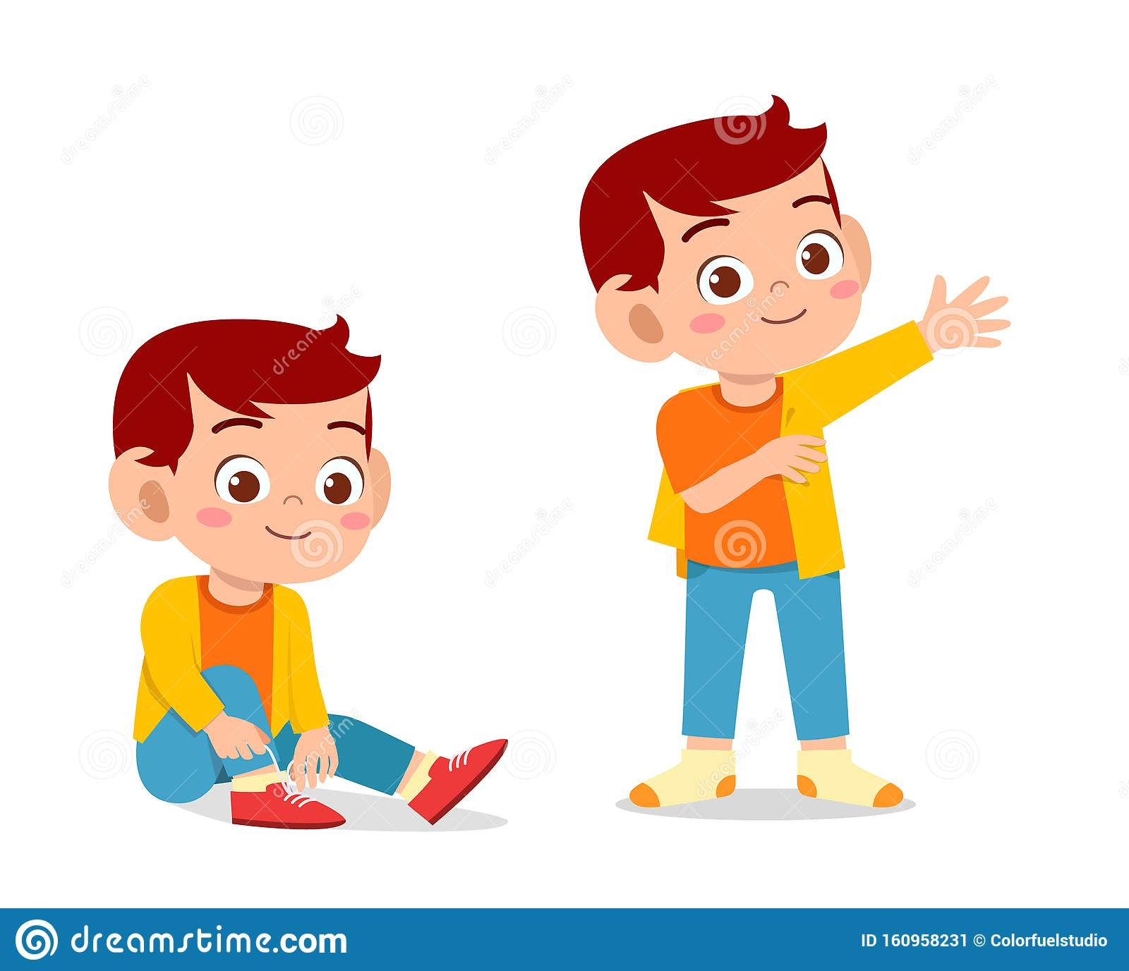 Happy Cute Kid Boy Do Dressing Process Stock Vector Illustration Of Clothes Lesson 160958231
