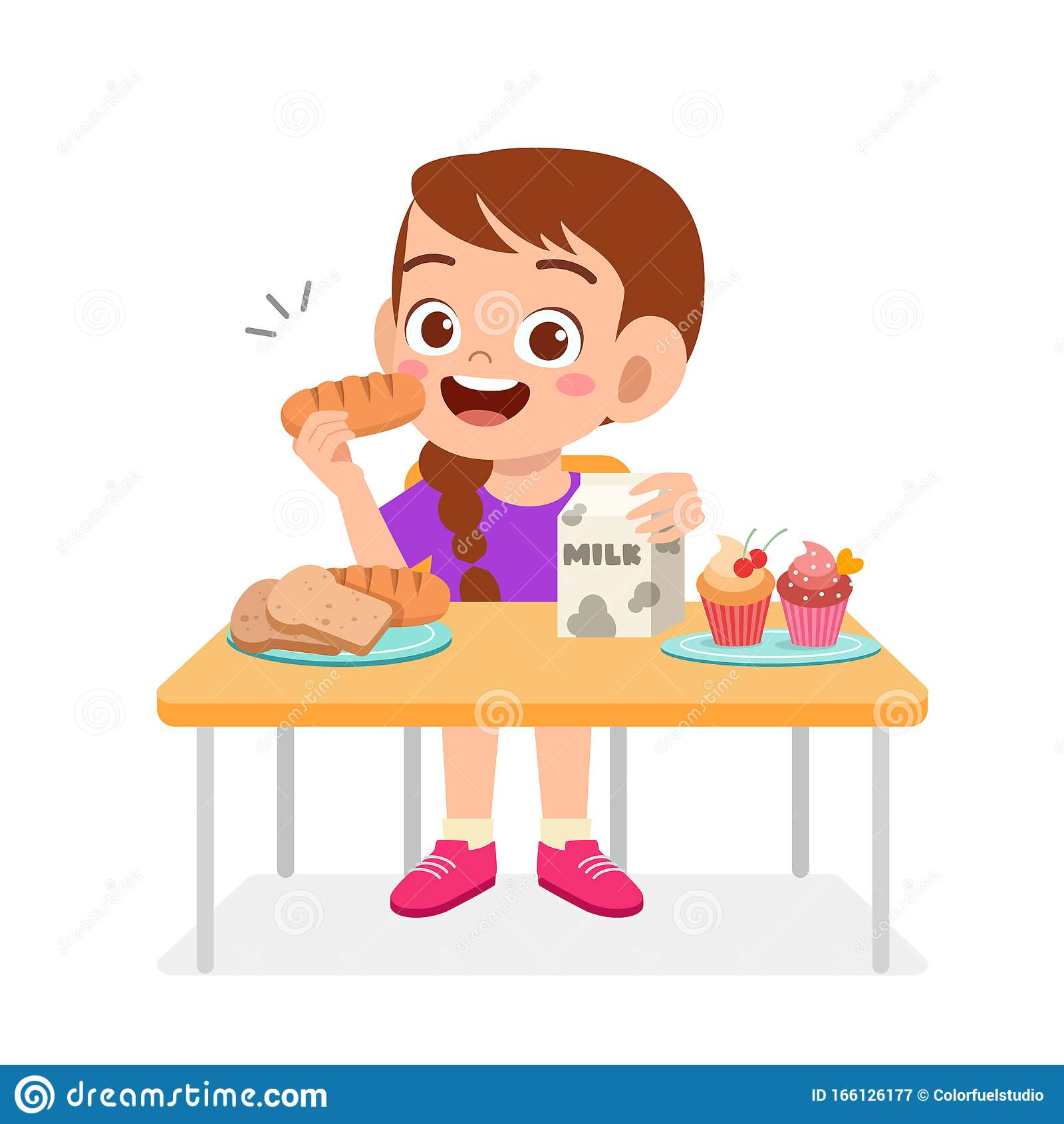 Happy Cute Kid Girl Eat Healthy Food Stock Vector Illustration Of Fresh Care 166126177