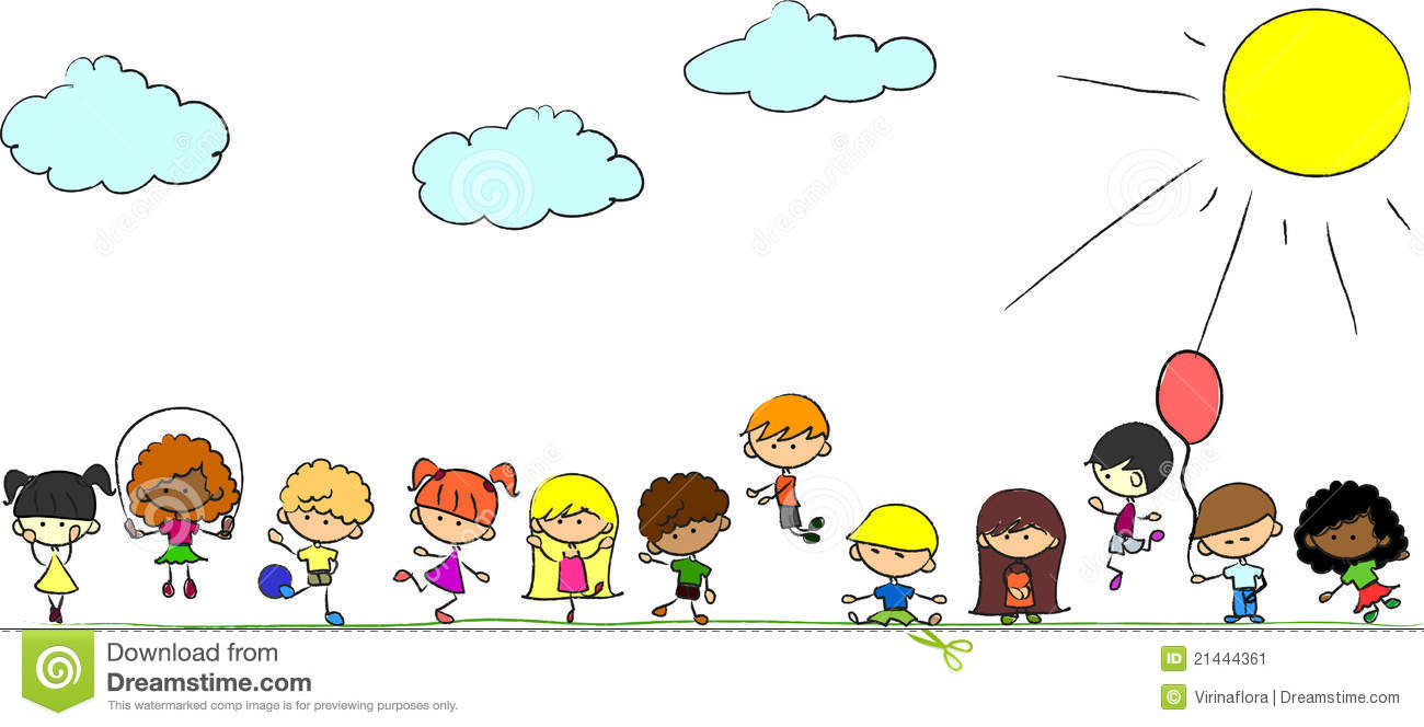 Happy Cute Kids Play, Dance, Jump,vector Stock Image - Image: 21444361