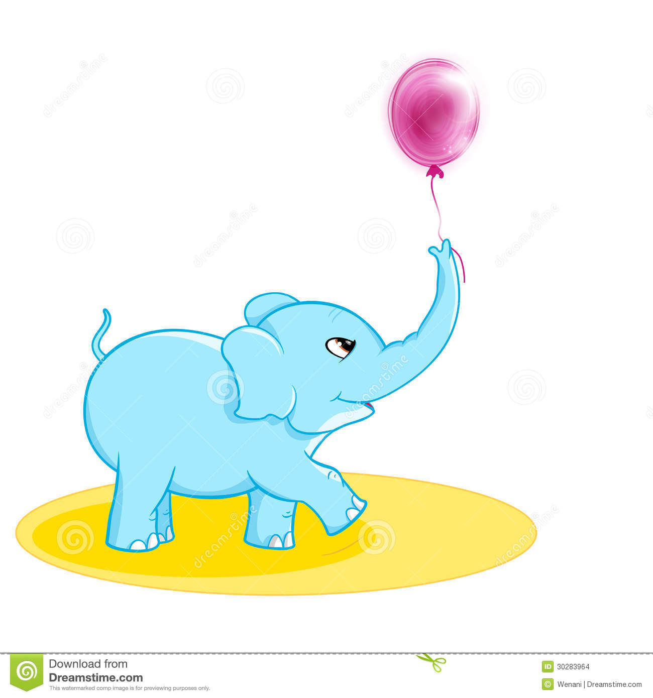 Cute elephant with ballon stock vector illustration of magenta 30283964