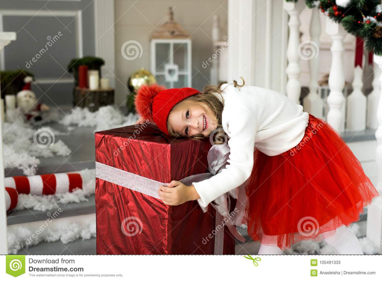 Happy Cute Little Smiling Girl With Christmas Gift Box. Merry ...