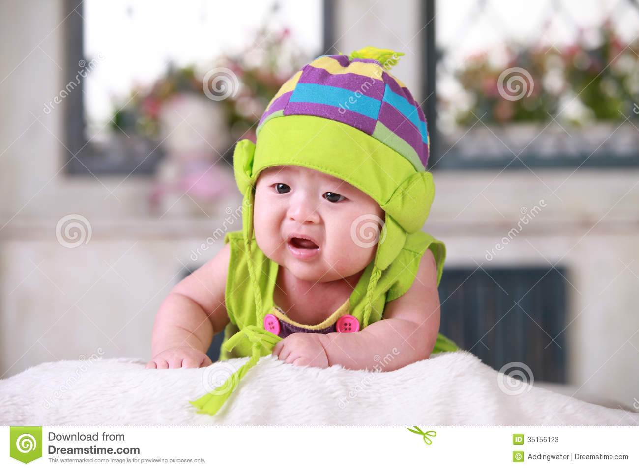 Happy Cute 3 Month Old Asian Baby Stock Image Image Of Copy