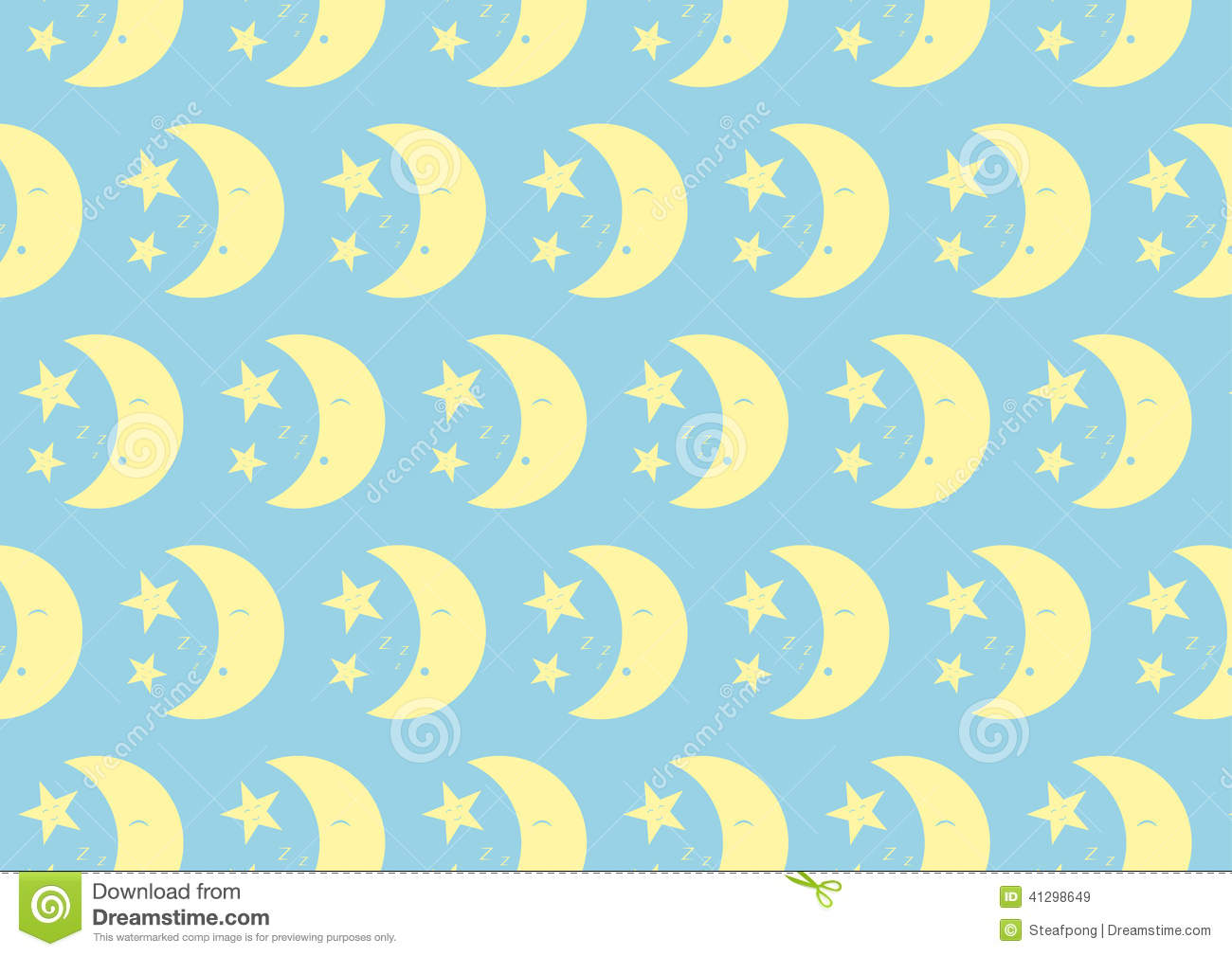 happy cute moon and star pattern on pastel color
