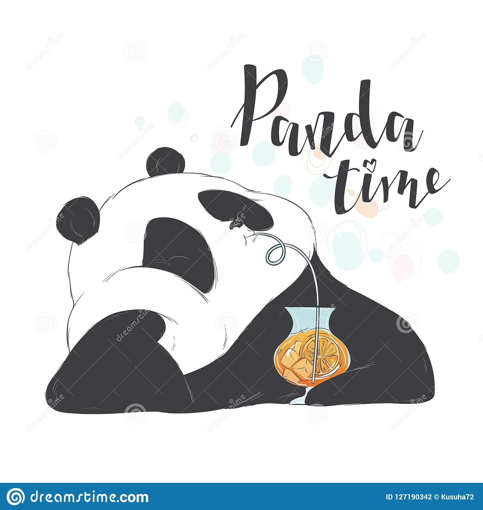 Happy cute pandas drinks through a straw fruit pink cocktail in a glass to take. Vector illustration flat hand drawn line art styl