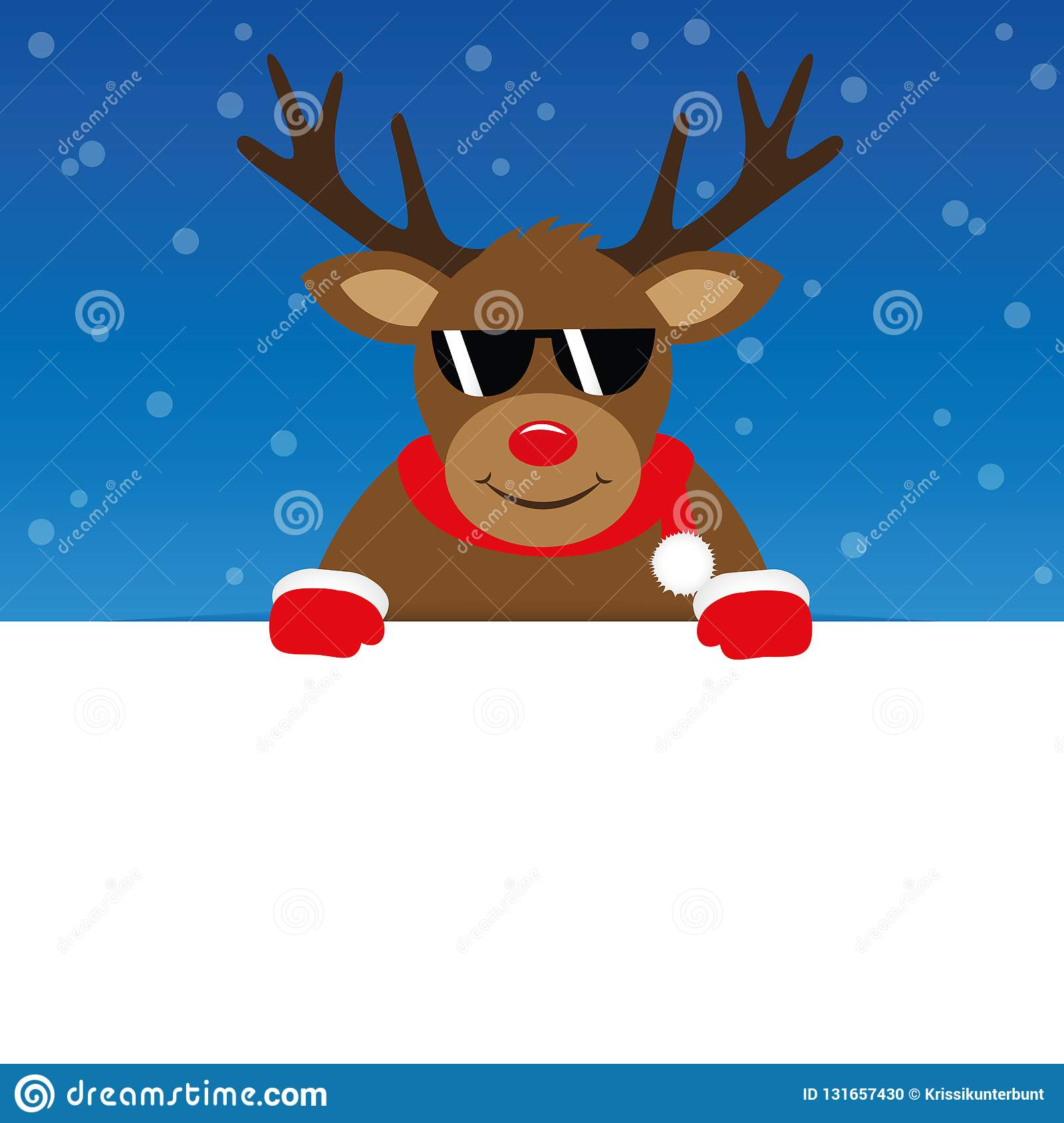 Happy cute reindeer with sunglasses on blue snowy background