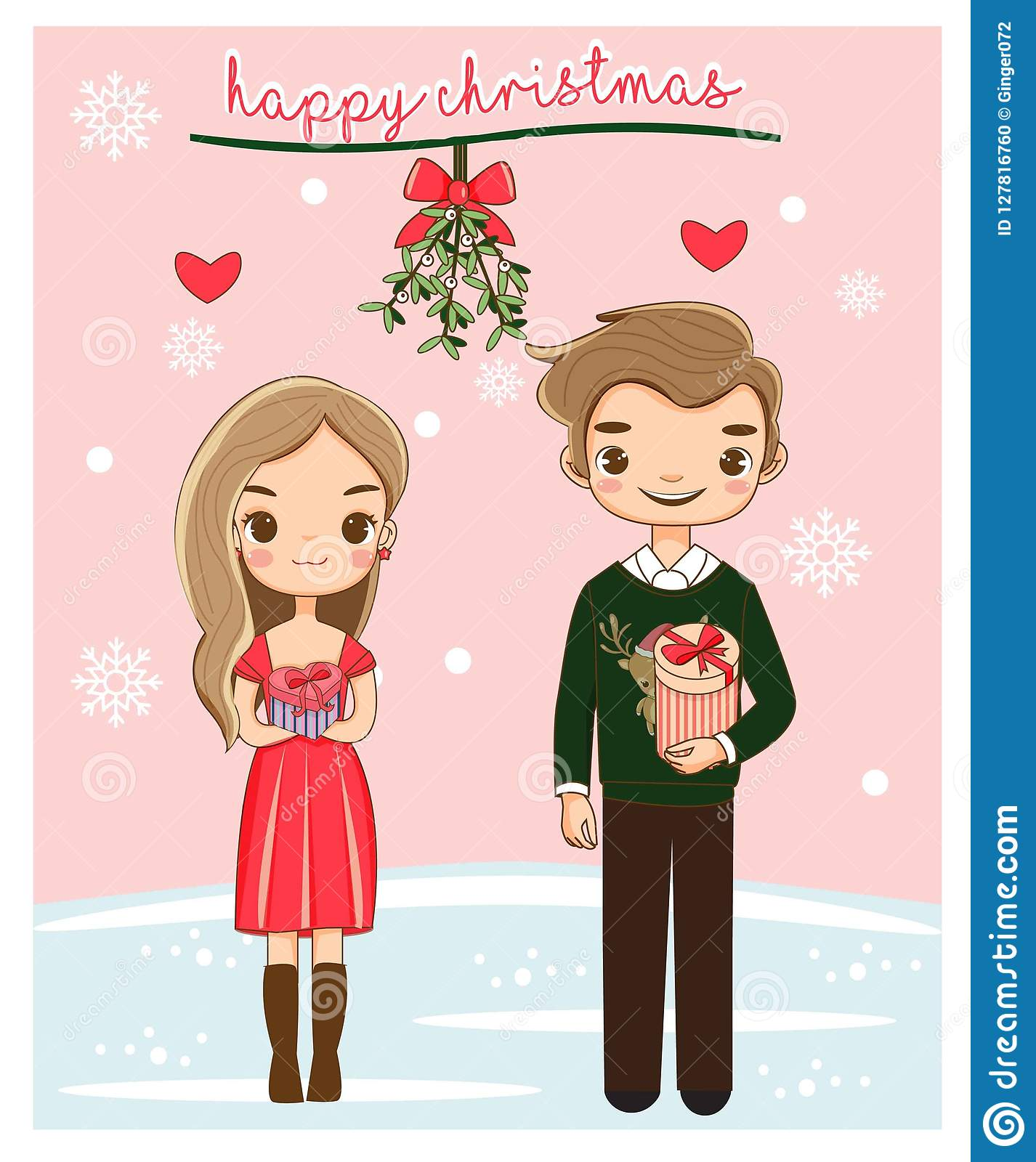 Christmas Festival Cartoon Images.Happy Cute Romantic Couple For Christmas Festival Stock