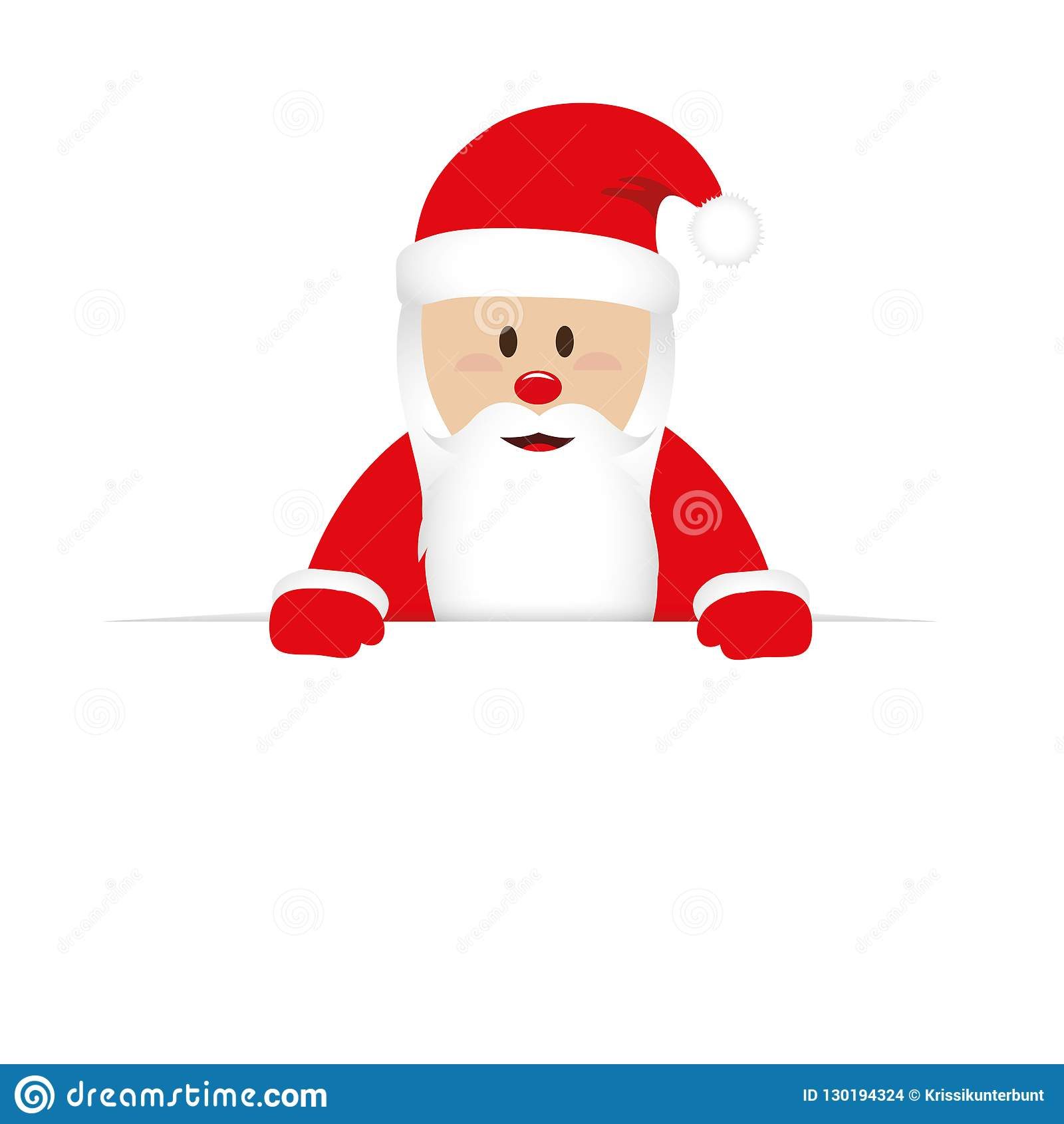 Happy cute santa claus in red clothes behind white banner