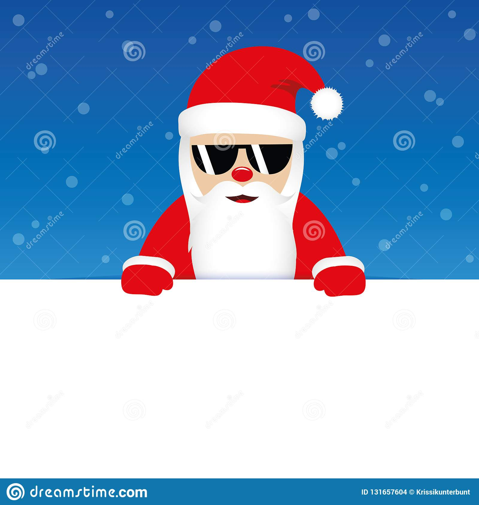 Happy cute santa claus with sunglasses on blue snowy background