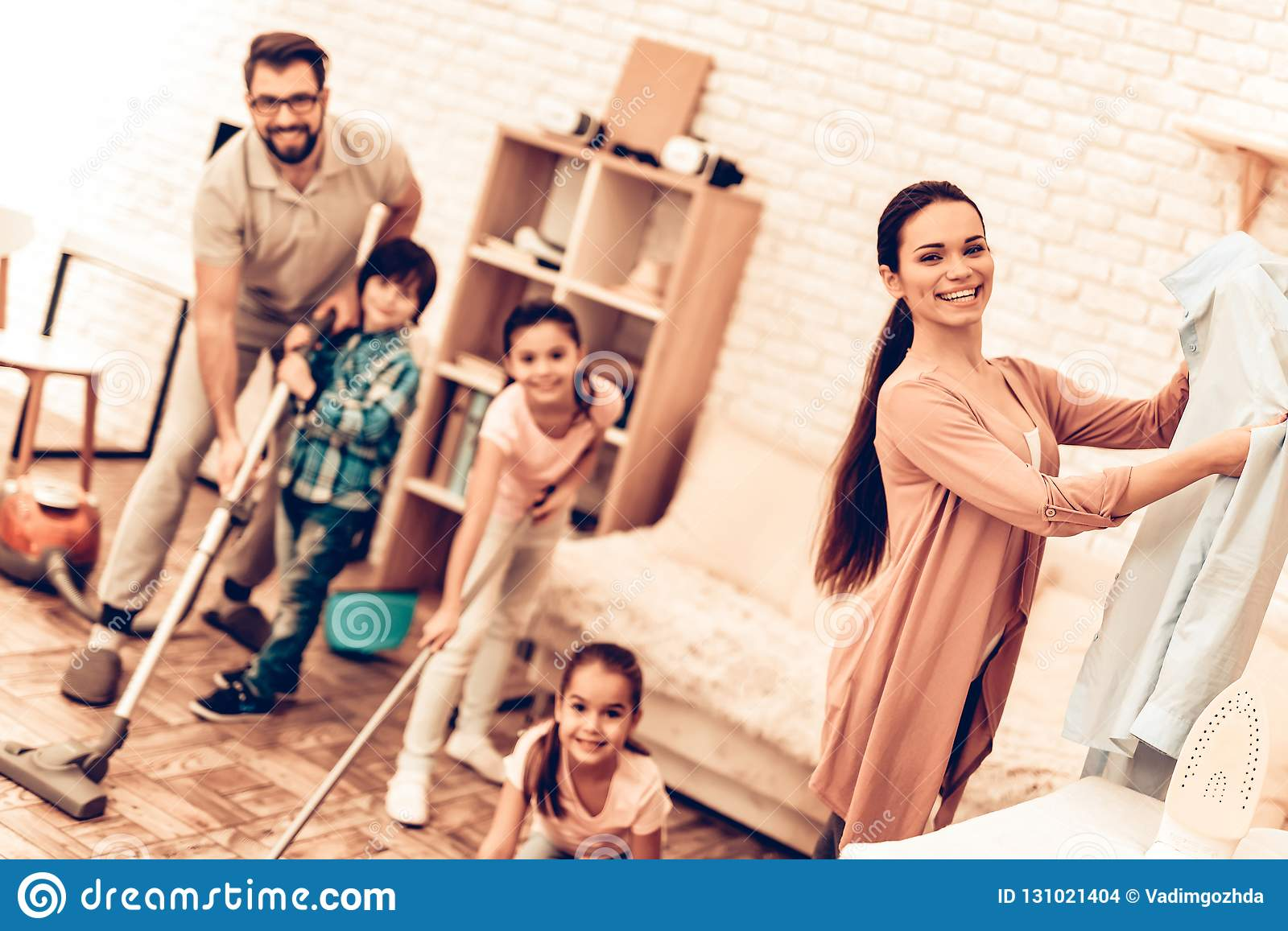 Happy Cute Smiling Big Family Cleaning Room Stock Photo