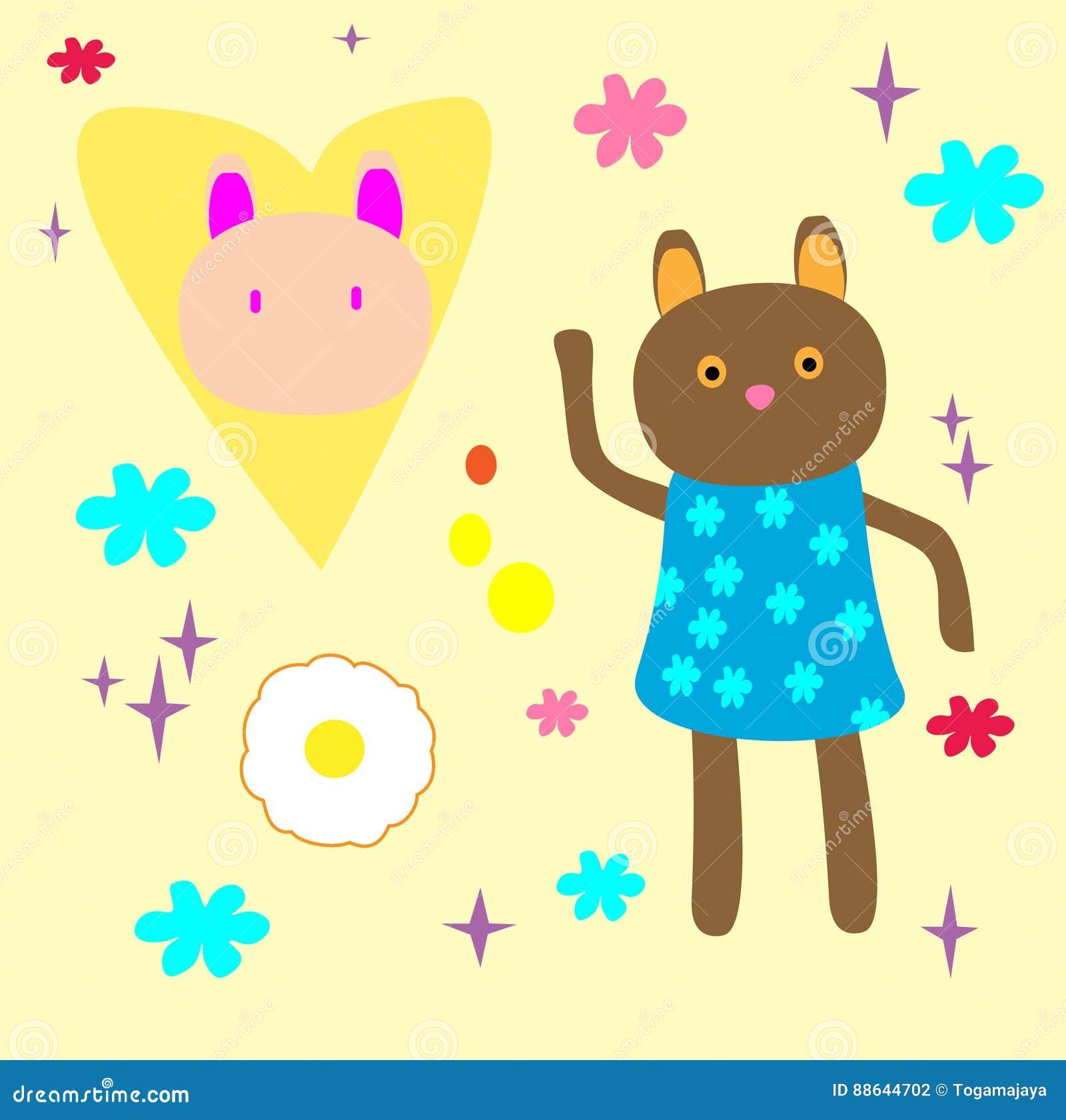 Cute Bear Cartoon for website, marketing, public advertaising, fun design for wallpaper, drawing book, poster