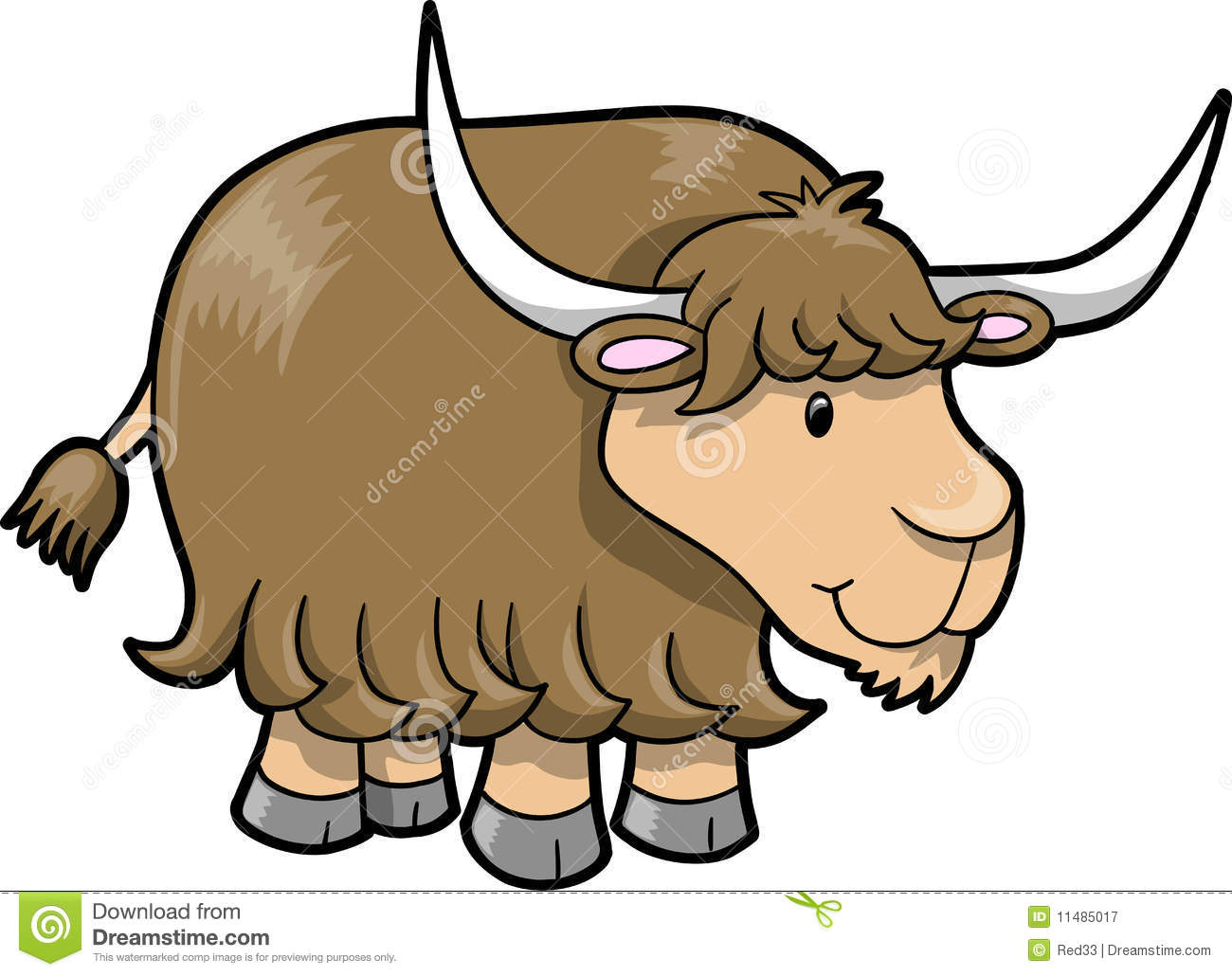Happy Cute Yak Vector Royalty Free Stock Photography - Image: 11485017