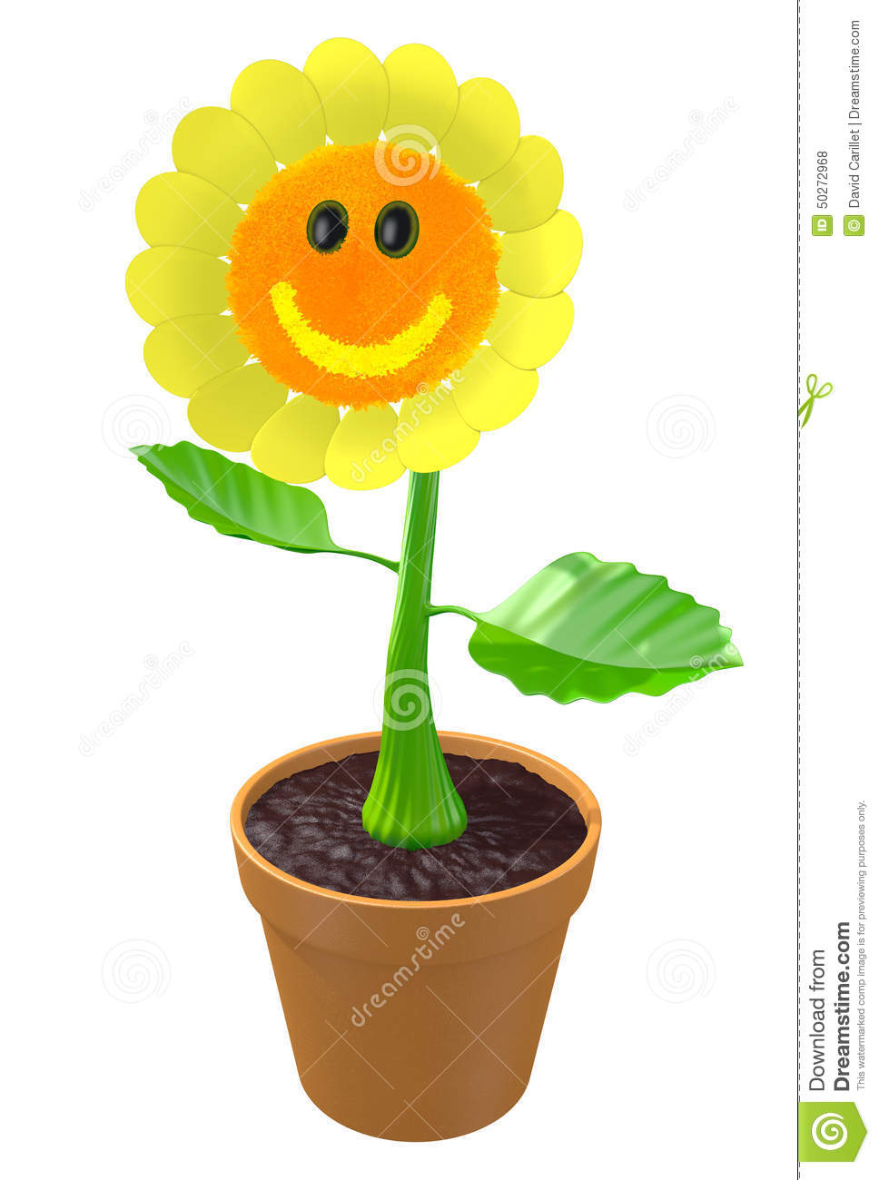 Happy 3d Flower With A Smiling Face Growing In A Garden