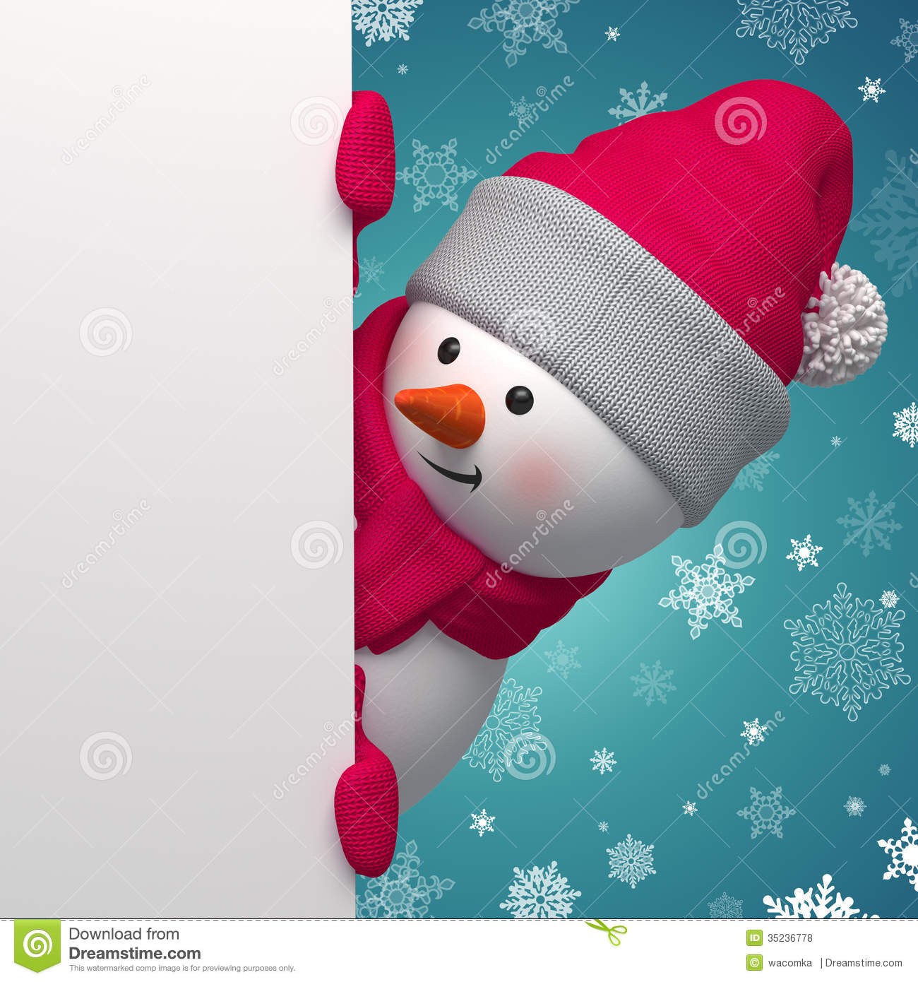 Happy 3d Snowman Holding White Page Royalty Free Stock Photos - Image ...