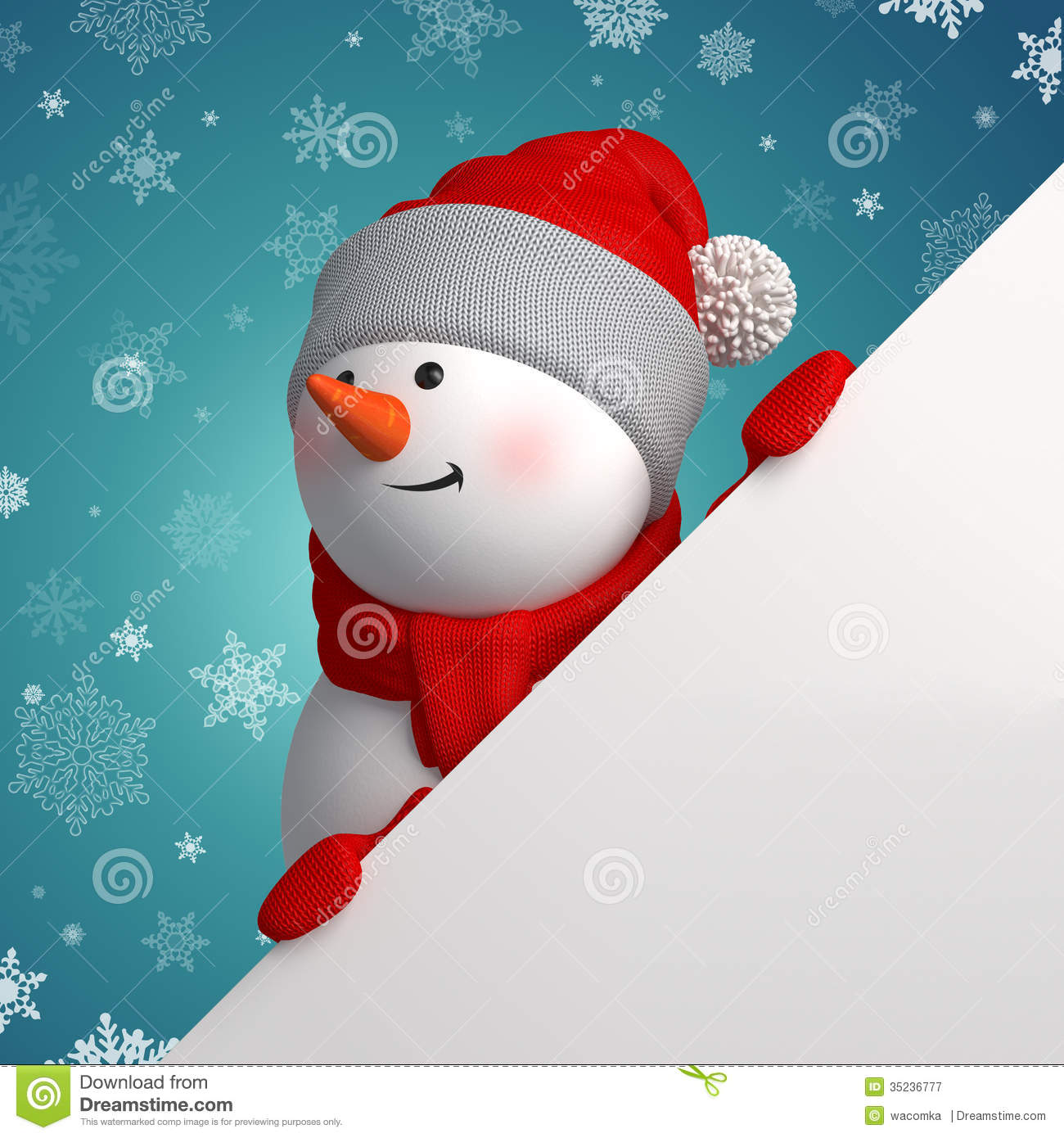 Happy 3d snowman holding white page corner royalty free - Bonhomme de neige decoration exterieure ...