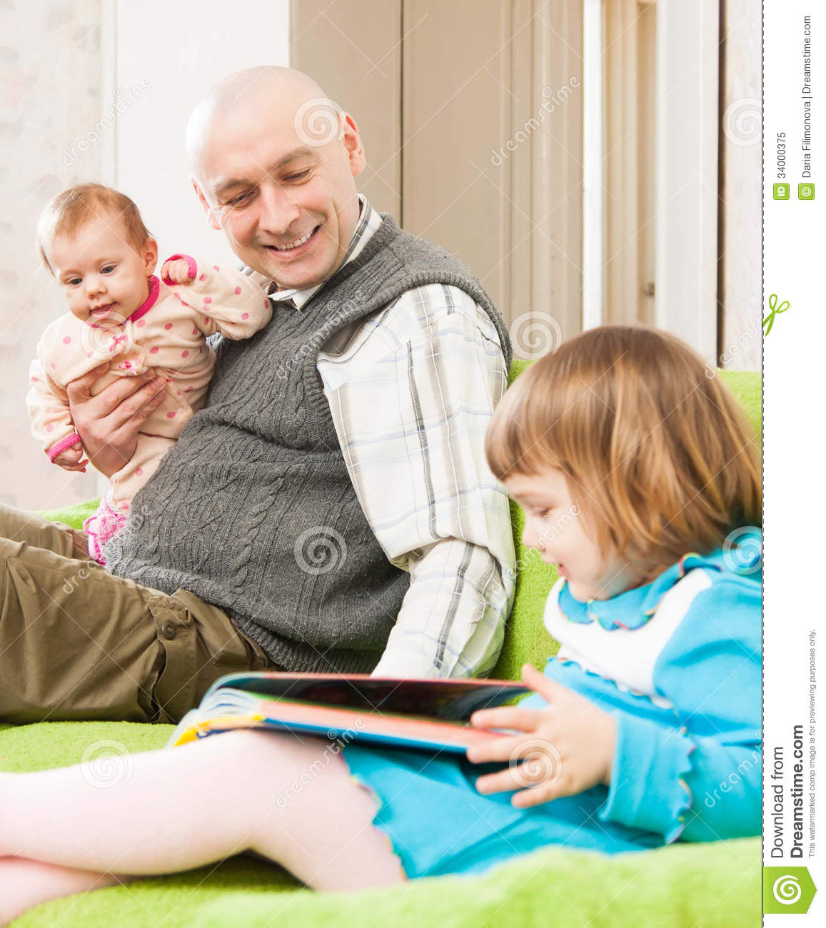 Happy Dad With Daughters Royalty Free Stock Photo - Image: 34000375