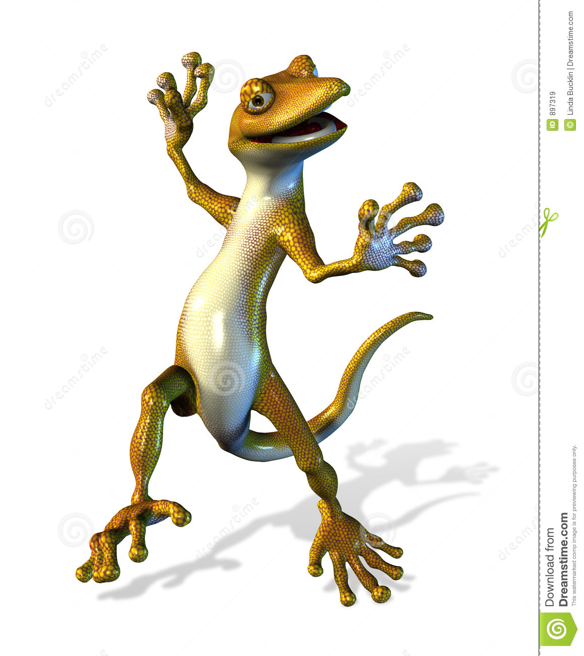 Happy Dancing Gecko - with clipping path