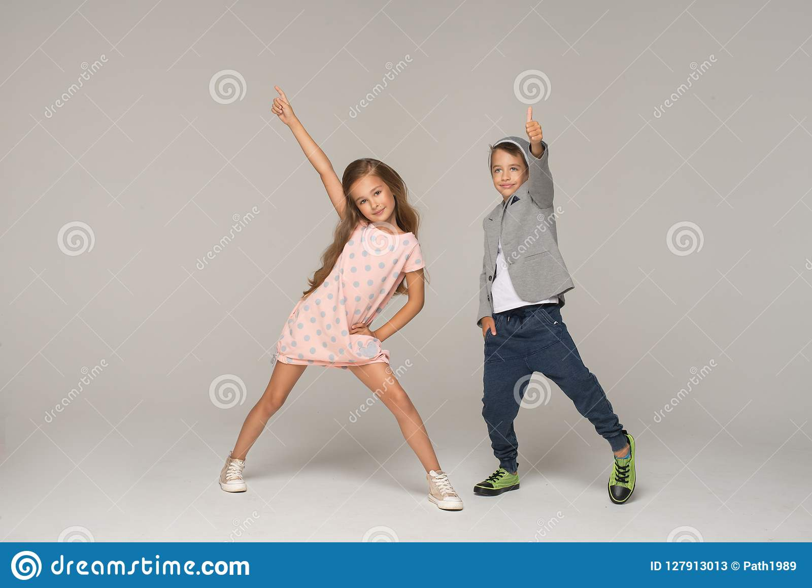Happy dancing kids.