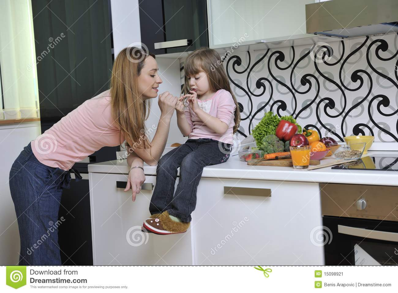 Happy Daughter And Mom In Kitchen Stock Image Image