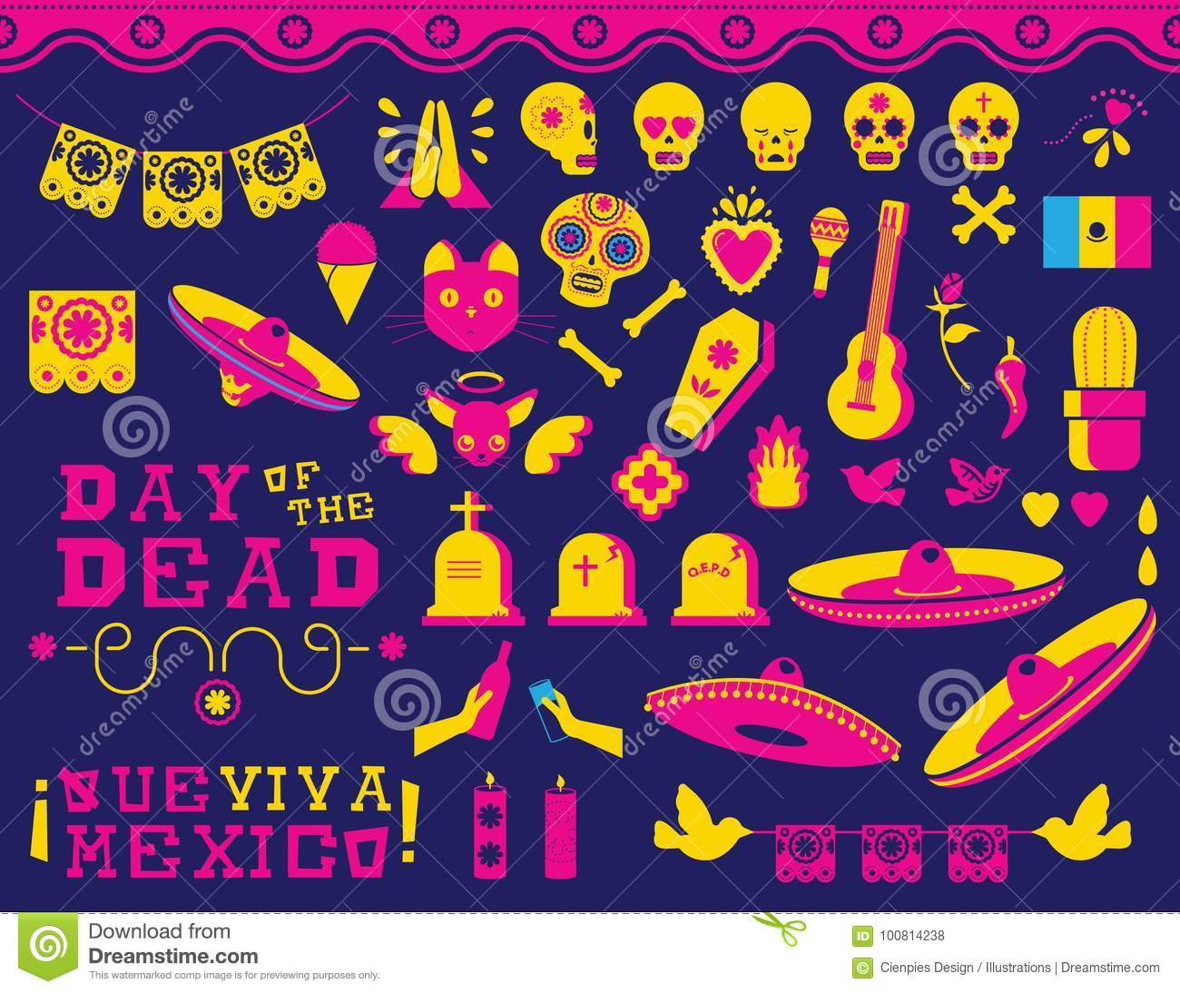 Happy Day Of The Dead Traditional Mexican Icon Set Stock Vector